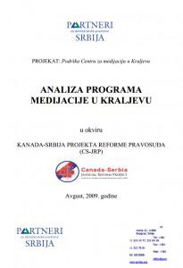 """Analiza programa medijacije u Kraljevu u okviru projekta """"Kanada-Srbija reforma pravosuđa"""""""